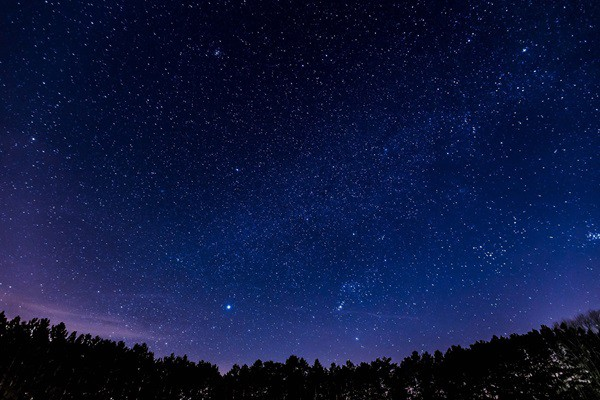 Night sky with bright stars of planets visible.