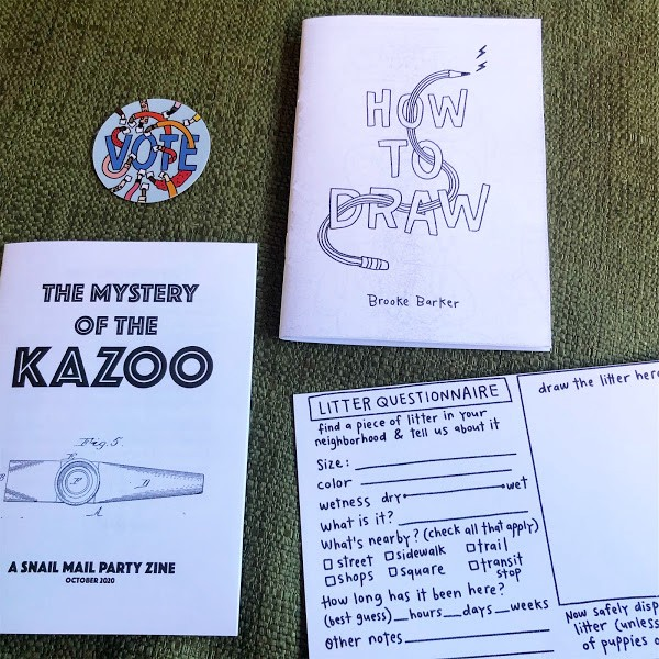 Snail Mail Party zines and activity postcard.