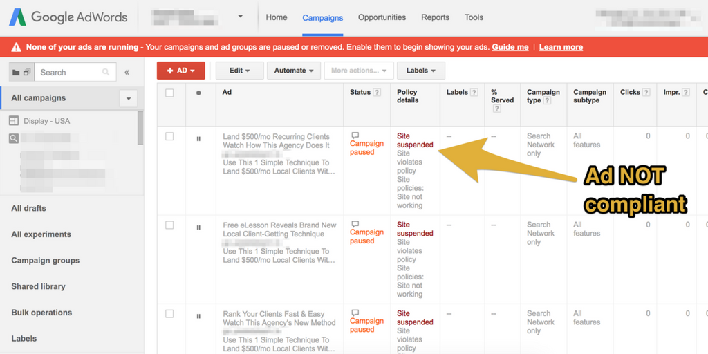 How to make sure your landing pages are Google-compliant / Facebook