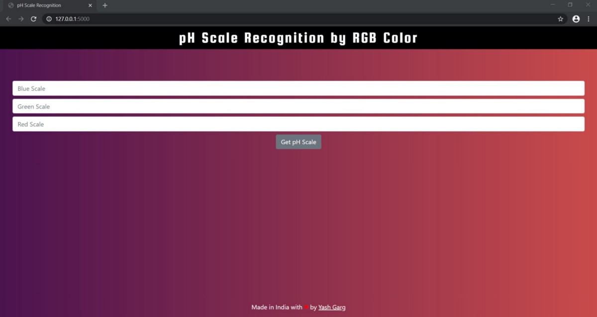 pH Scale Recognition by RGB Color Using Flask.