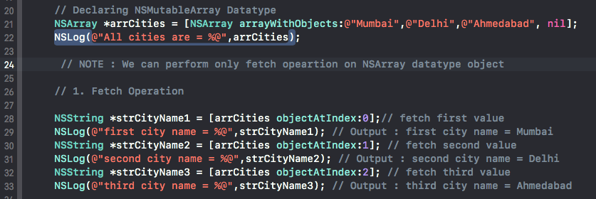 Collection datatypes (Array/dictionary) in Objective C language