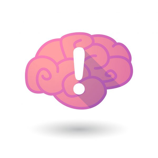 animated brain with a white exclamation point on it.