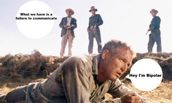 "Iconic ""failure to communicate"" photo from Cool Hand Luke of the warden standing over prone Paul Newman"