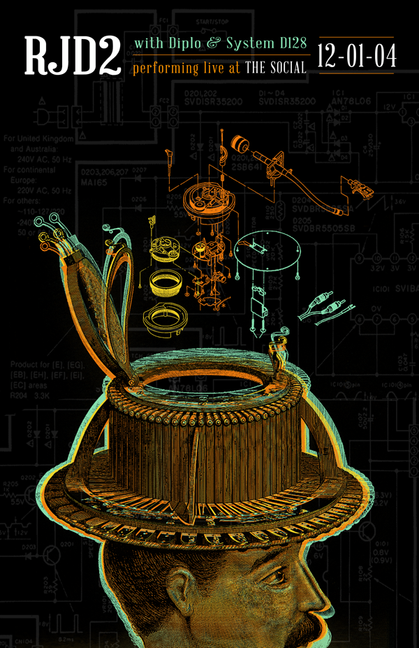 RJD2 Poster design by Rene Vazquez—Man with hat, turntable schematics in background and coming out of hat