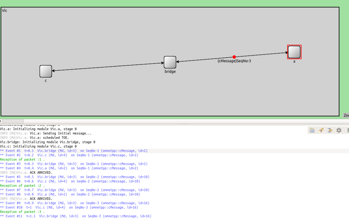 Omnet++ simulation of a simple ACK protocol  - Nikos