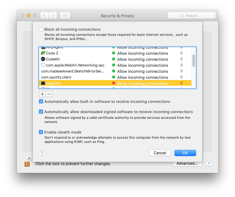 hasplmd prevents macOS Sierra from going to sleep and causes random