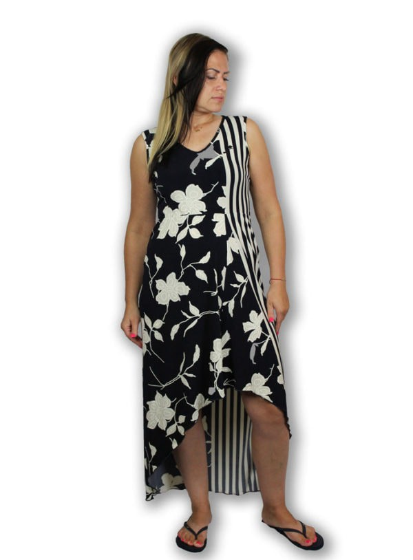 Striped dress with flowers—Shades of Romeo