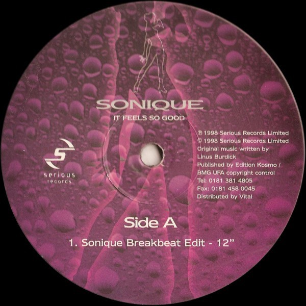 """Vinyl imprint of the original 1998 single """"It Feels So Good"""" by Sonique (Image: Discogs)"""