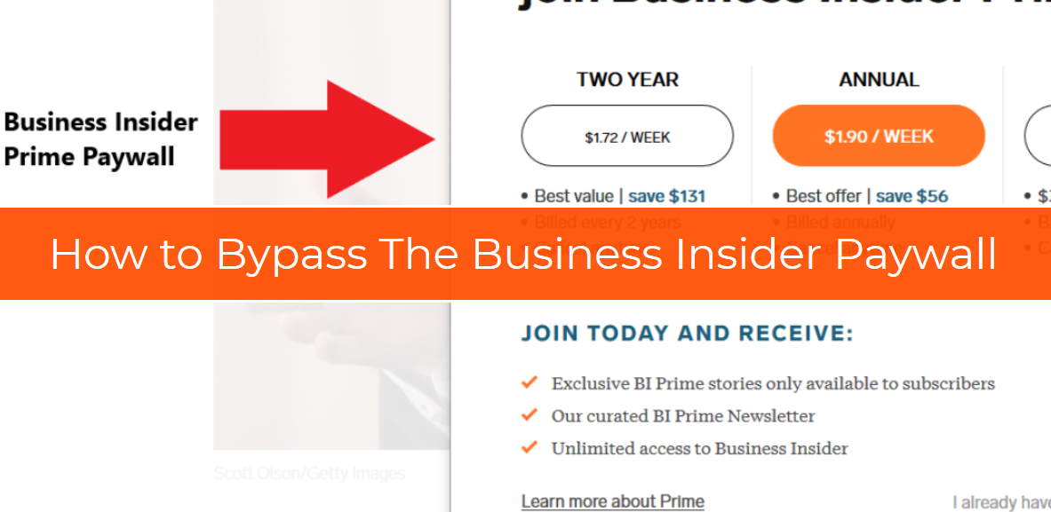 How to Get Around The Business Insider Prime Paywall in a Few Seconds