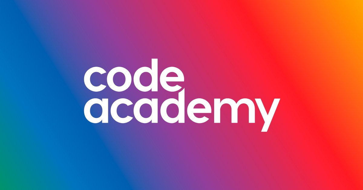 code academy white letters with different colors in the background.