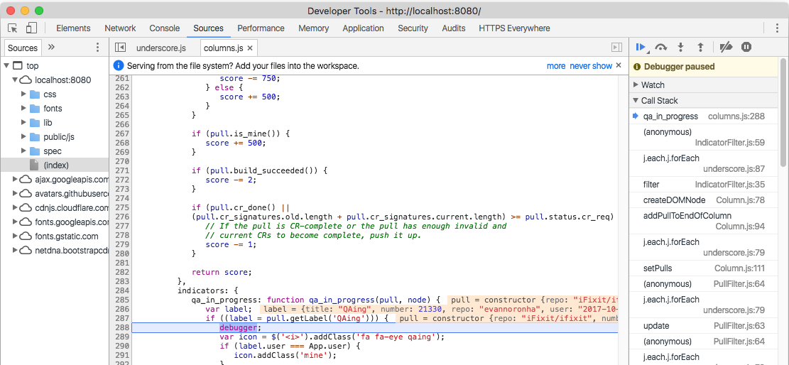Using Chrome DevTools to debug frontend and backend JavaScript