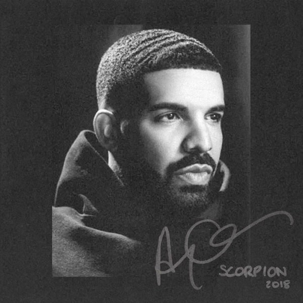 Drake on the cover of his album, Scorpion