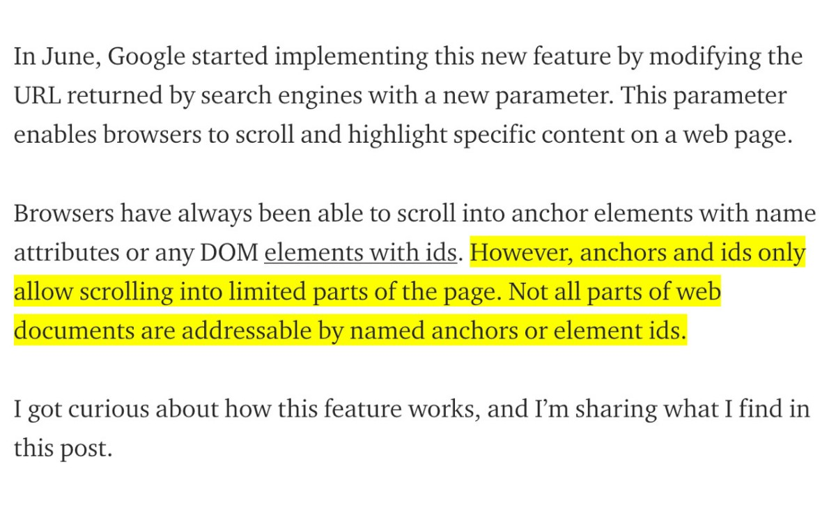 Understanding Google's Scroll and Highlight Feature
