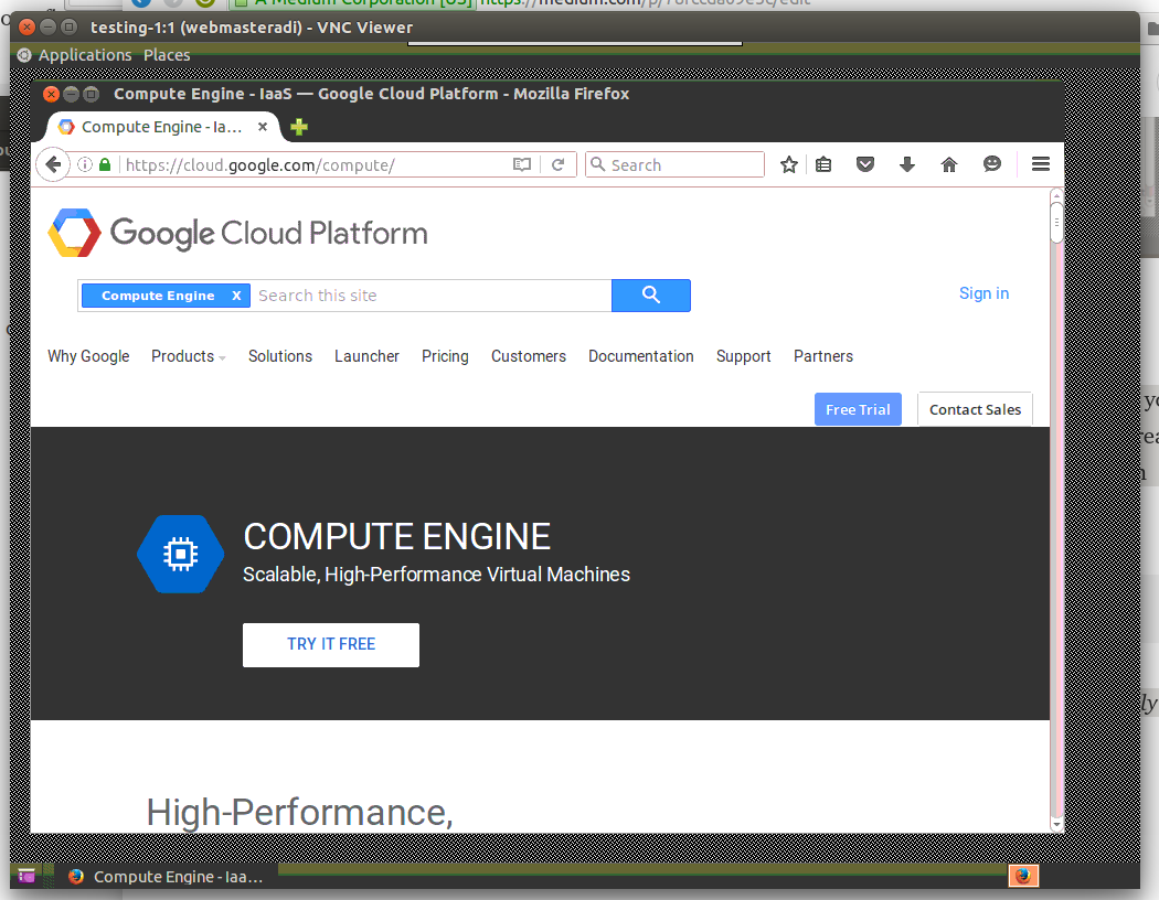 Graphical user interface (GUI) for Google Compute Engine instance
