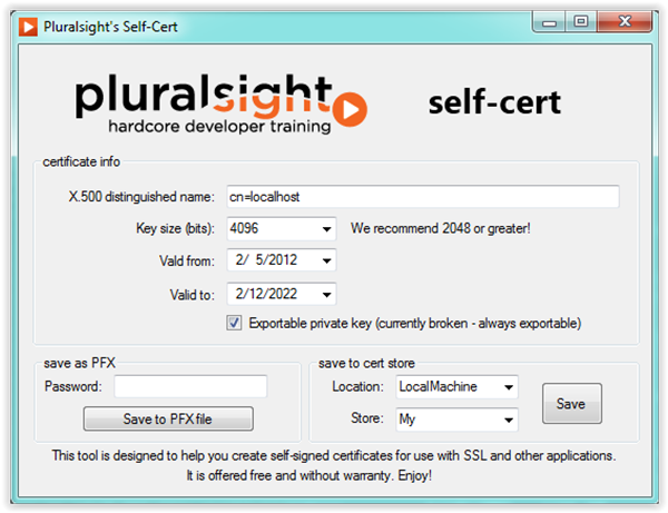 Generating self-signed certificates on Windows - The new