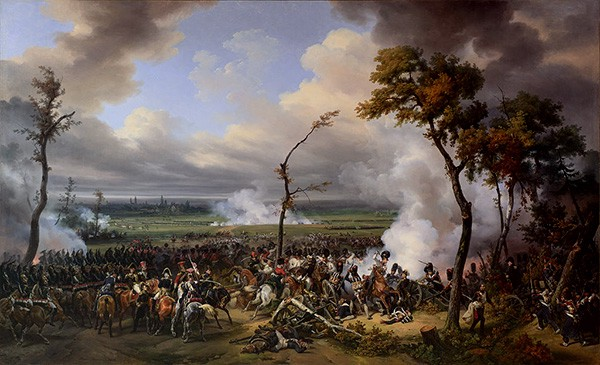 Battle on a flat field with several scrawny trees on either side of the armies. Smoke billows over the battlefield.