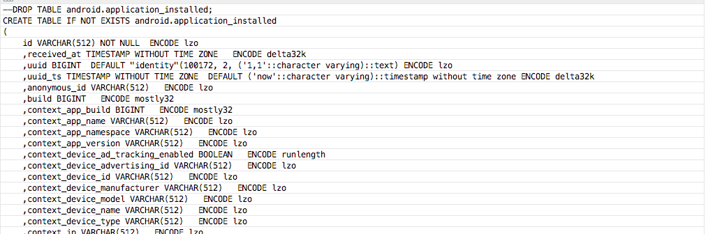 AWS Redshift: Handy query to get all table create statements for a