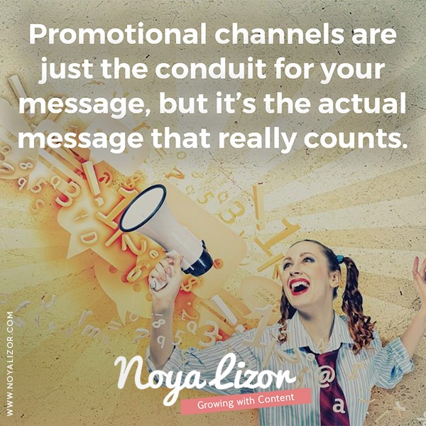 """""""Promotional channels are just the conduit for your message, but it's the message that really counts."""" via www.noyalizor.com"""