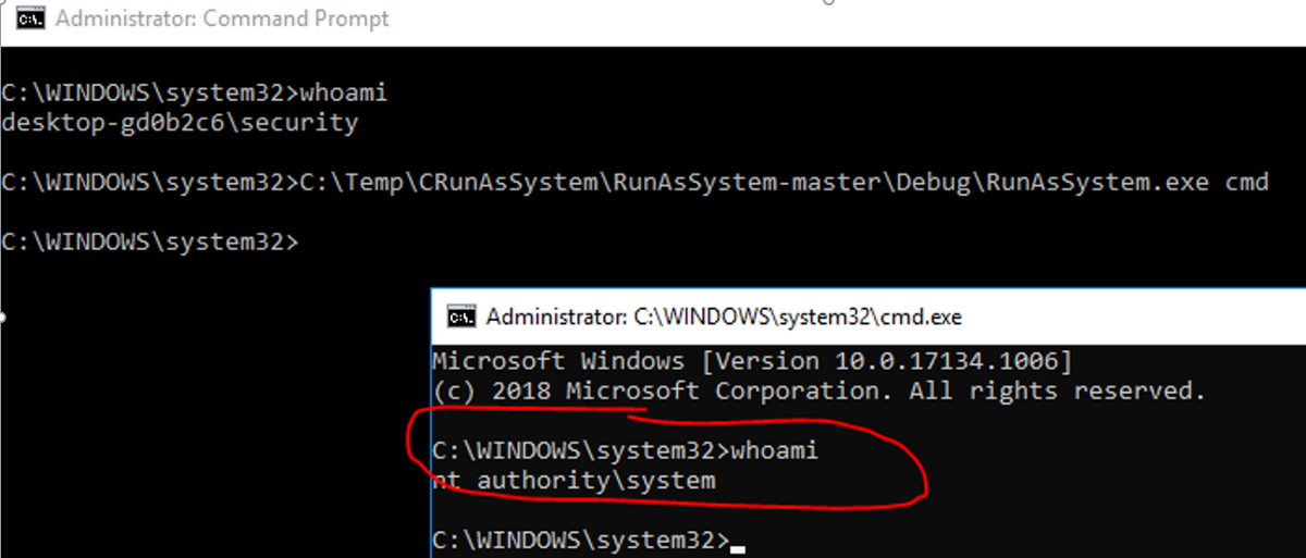 Three more ways to run command prompt with SYSTEM rights