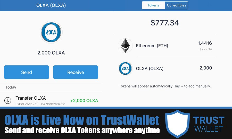 "OLXA is Live Now on Trust Wallet App ! ""Even During the ICO"""