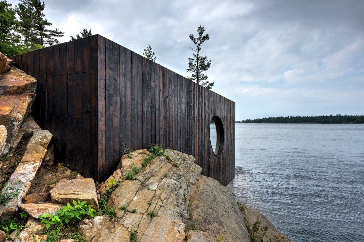 This sauna built into a prehistoric rock boasts epic sunset views