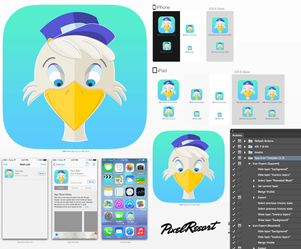 Use the Photoshop action to generate the icons from the iOS template.