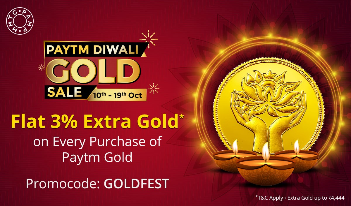 This Dhanteras & Diwali, buy Paytm Gold and get up to 3