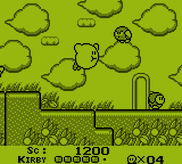 screenshot of the gameboy videogame kirby's dreamland