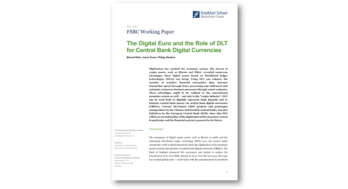 The Digital Euro and the Role of DLT for Central Bank Digital Currencies