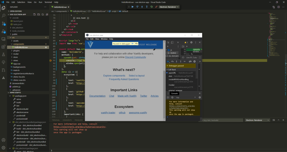 Setup Visual Studio Code for debugging an Electron application with the Vue CLI Service