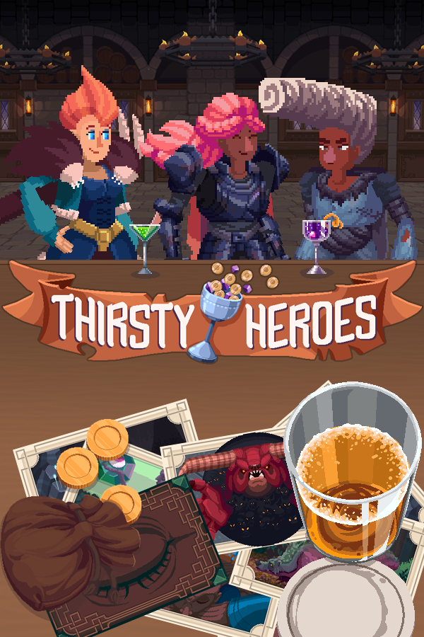 Thirsty Heroes box art. Shows 3 Heroes standing at a medieval bar with drinks and various cards and coins on top of the bar.