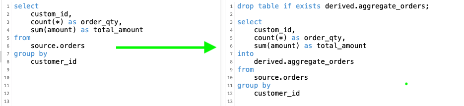 Create a Redshift table directly from a SELECT statement