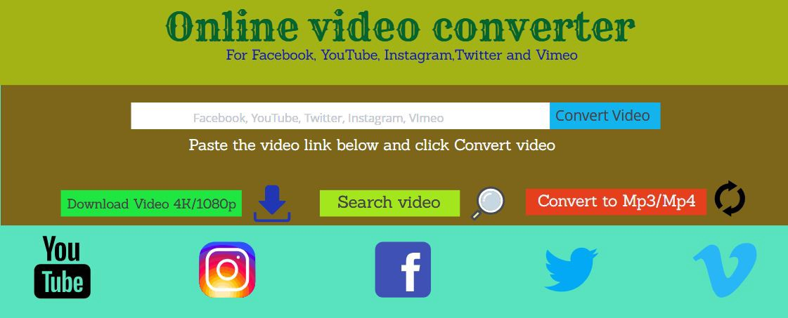 Online Video Converter for Facebook, YouTube, Twitter, Vimeo and