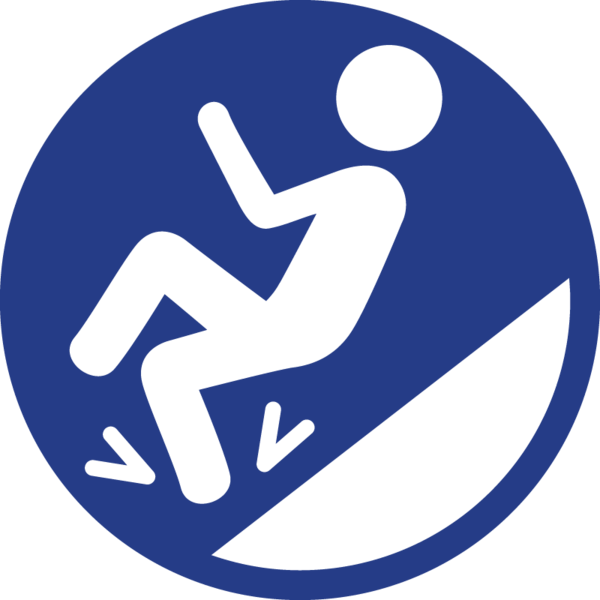 The slippery slope icon: a human figure slipping down tilted ground.