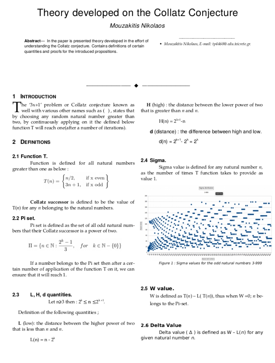 Theory Developed On The Collatz Conjecture (on work)