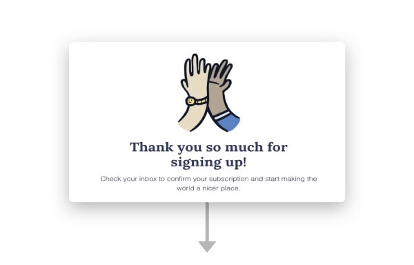 An illustration of two hands high fiving on the sign up confirmation page.