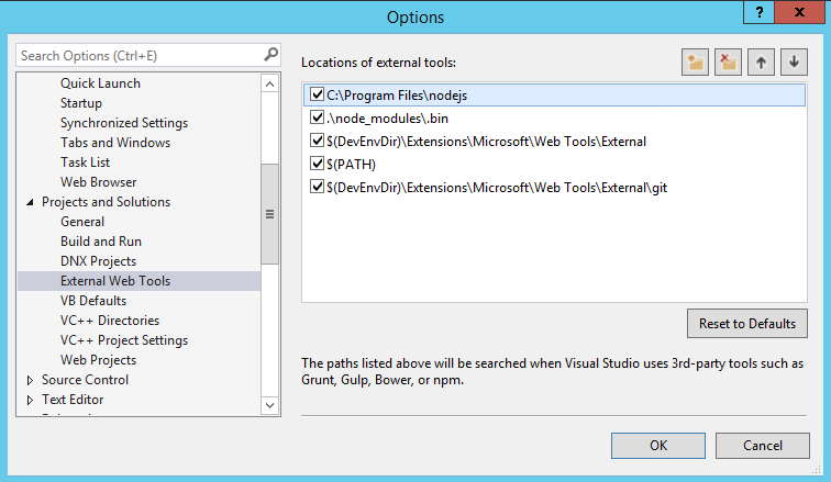 Node js and NPM introduction for Visual Studio 2015