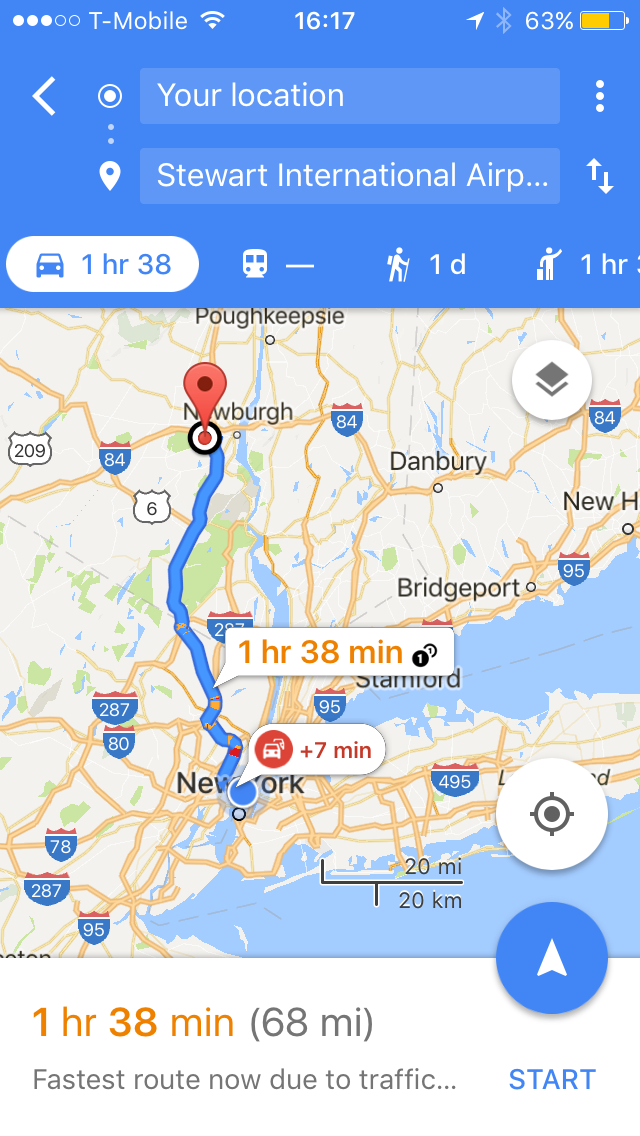 Map Of New York City Airports.Getting To Stewart Airport Swf From New York City