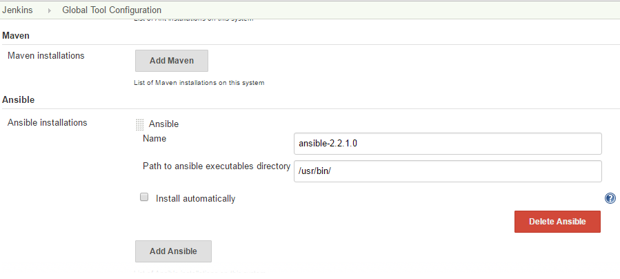 Configure Jenkins job with Ansible-Jenkins Plugin to setup