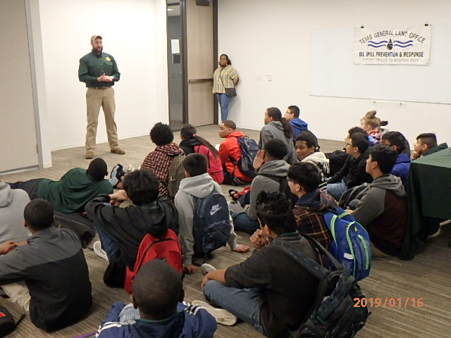 GLO's Oil Spill Prevention and Response team gives students