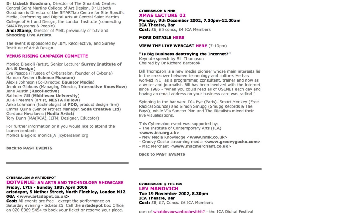 In December 2002 I gave the Cybersalon/New Media Knowledge Christmas