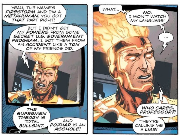 "Firestorm says ""Bullshit"" and ""Asshole."""