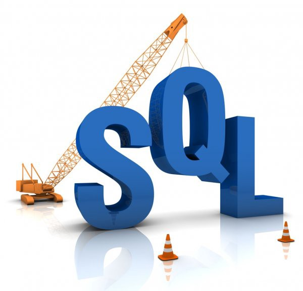 Image of the word SQL being held up by a crane