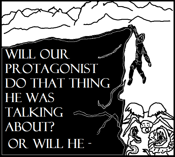 A shadowy outline of a man hanging from a cliff with different monsters below him, waiting for him to fall.