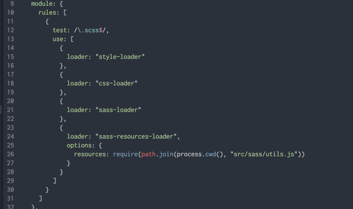 Sharing Sass resources with sass-resources-loader and webpack