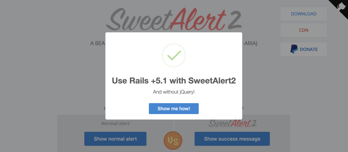 How to use SweetAlert2 for your Rails +5 1 (rails-ujs