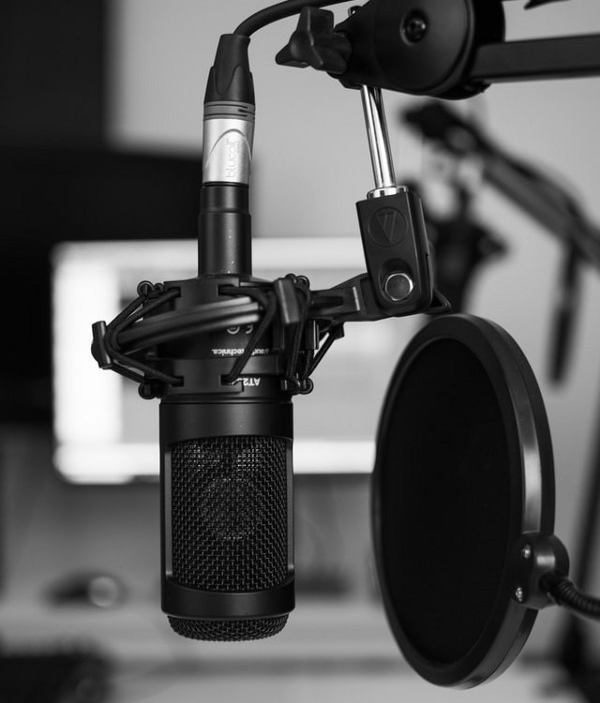 Professional microphone with pop field