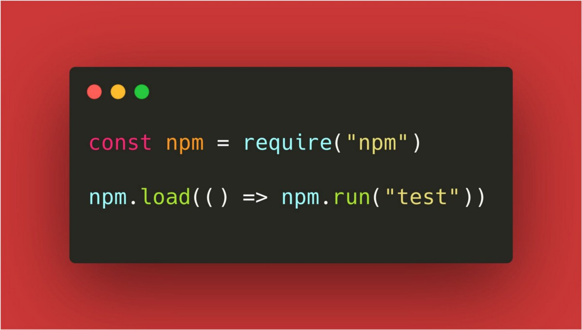 "Launching ""$ npm run"" programmatically with `npm.run()`"
