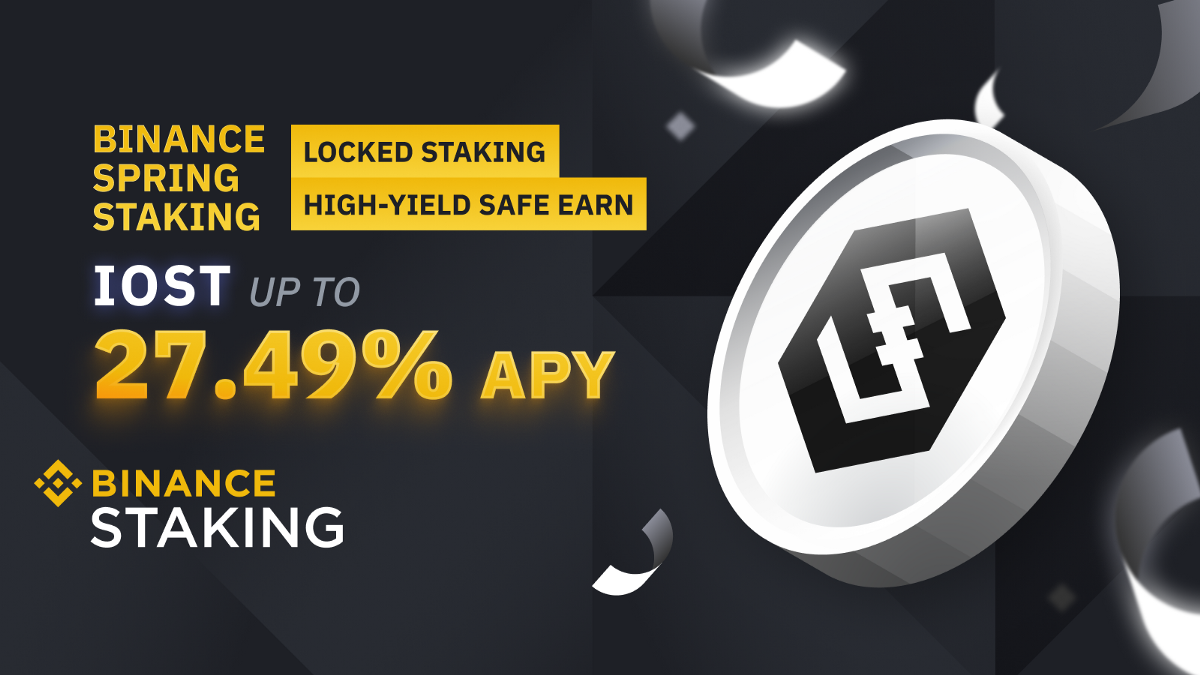 """Binance Staking Launches the 2nd """"Spring Staking"""" Promo with Up to 27.47% APY on IOST"""