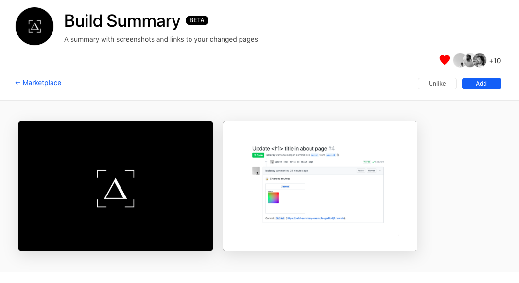 Let's try Build Summary Integration by ZEIT Now